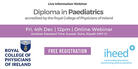 Diploma in Paediatrics - RCPI - Info Webinar -  Dec 4th 2020 tickets