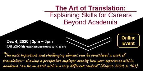 The Art of Translation: Explaining Skills for Careers Beyond Academia tickets