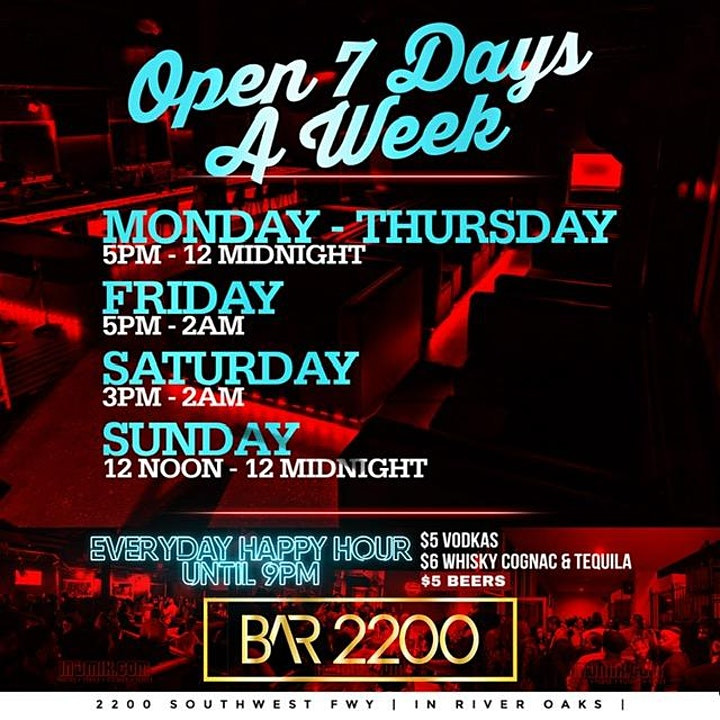 SATURDAYS @ BAR 2200 | FOOD| HOOKAH |HAPPY HOUR | FREE ENTRY |Open 3PM- 2AM image