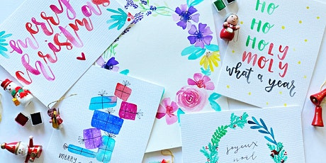 Copy of Christmas watercolour lettering and illustration tickets