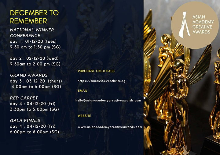 Asian Academy Creative Awards 2020 (Dec 1st to  4th) image