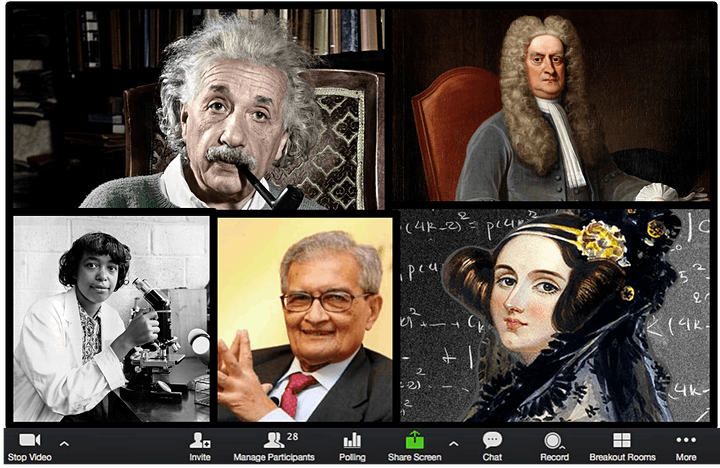 A joke image - a mocked up Zoom window showing various famous nerds joining the meeting, including Albert Einstein and Ada Lovelace.