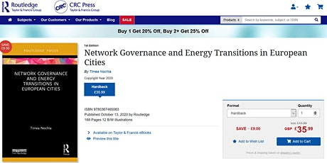 Book launch: Network Governance and Energy Transitions in European Cities tickets