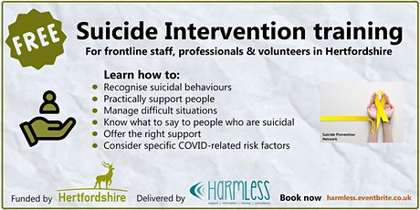 FREE Hertfordshire/Herts. Suicide Intervention training - ONLINE