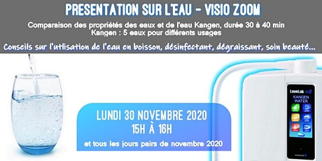 Présentation sur l'eau (visio zoom) LUNDI 30 NOV 2020 15H billets