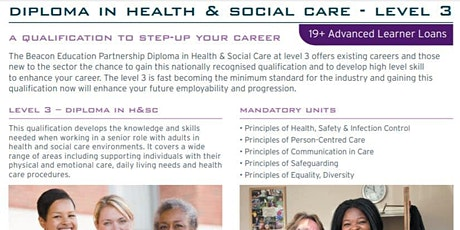 Level 3 Health and Social Care course tickets