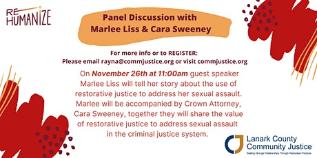 Marlee Liss & Cara Sweeny Panel Discussion on Restorative Justice