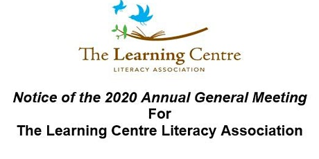 The Learning Centre Literacy Association Annual General Meeting tickets