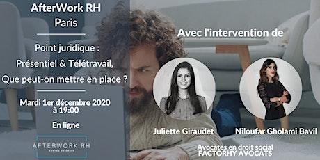 AfterWork RH Paris - Point juridique : Présentiel & Télétravail billets