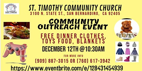 "Community Outreach Event ""FREE TOYS, FOOD, CLOTHES GIVEAWAY"" tickets"