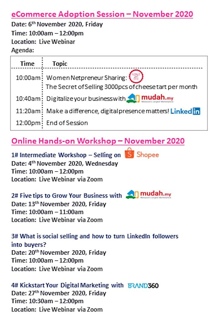 [Webinar Series] eCommerce Adoption Sessions & Workshop - Nov2020 image