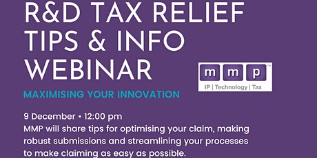 Research and Development Tax Relief Tips and Info Webinar tickets