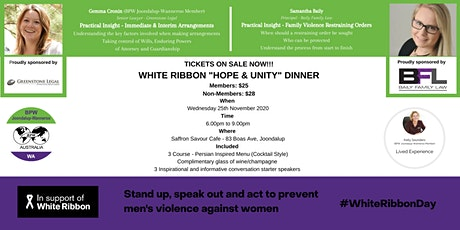 BPW Joondalup-Wanneroo White Ribbon 'Hope and Unity Dinner' tickets