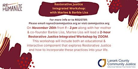 Restorative Justice Integrated Workshop with Marlee & Barbie Liss