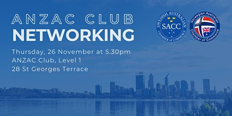 Perth Networking Drinks - ANZAC Club  - 26 November 2020 - 5.30PM tickets