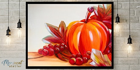 "Paint ""Fall Pumpkin"" - online paint & sip in style workshop tickets"