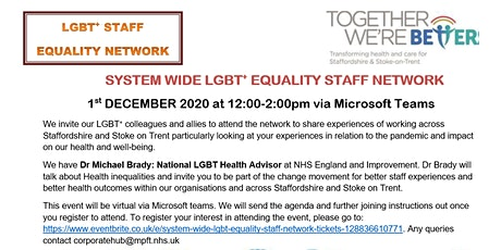 System Wide LGBT+ Equality Staff Network tickets