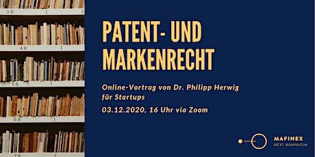 Patent- und Markenrecht  - Online Vortrag für Startups Tickets