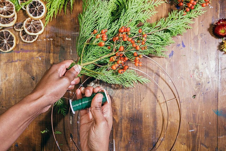 Online Christmas wreath making kit with Prosecco! image