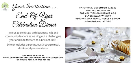 2020 End of Year Celebration Dinner - The Chamber of Commerce And Community tickets