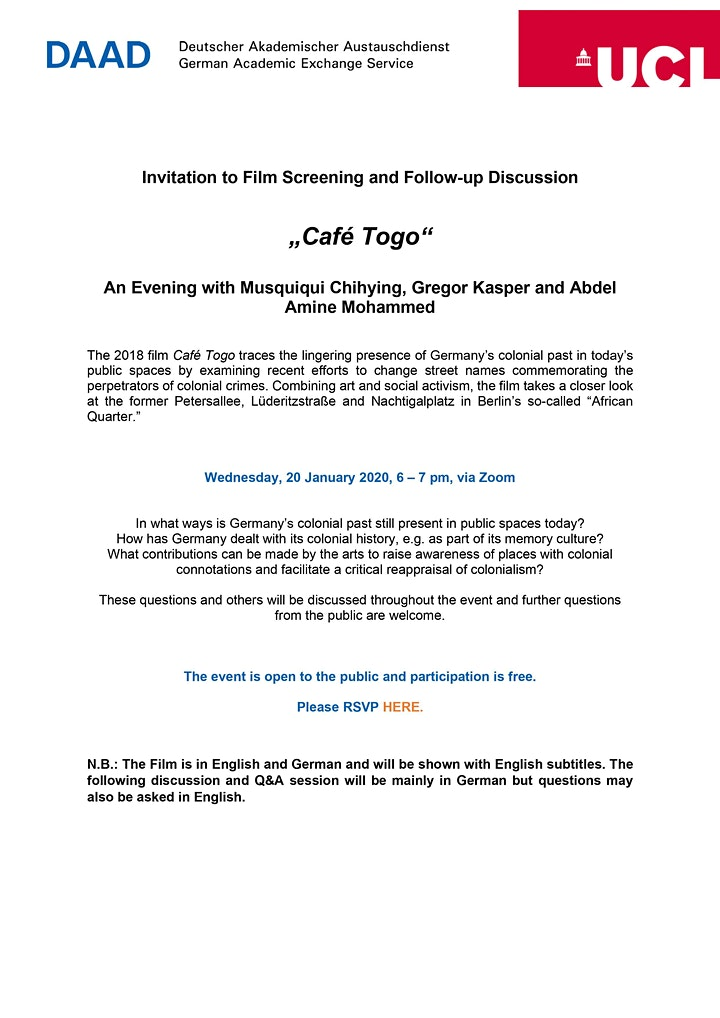 "Film Screening and Q&A with the Producers of ""Café Togo"" image"