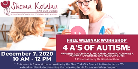 4 A's of Autism - Free Webinar Workshop tickets