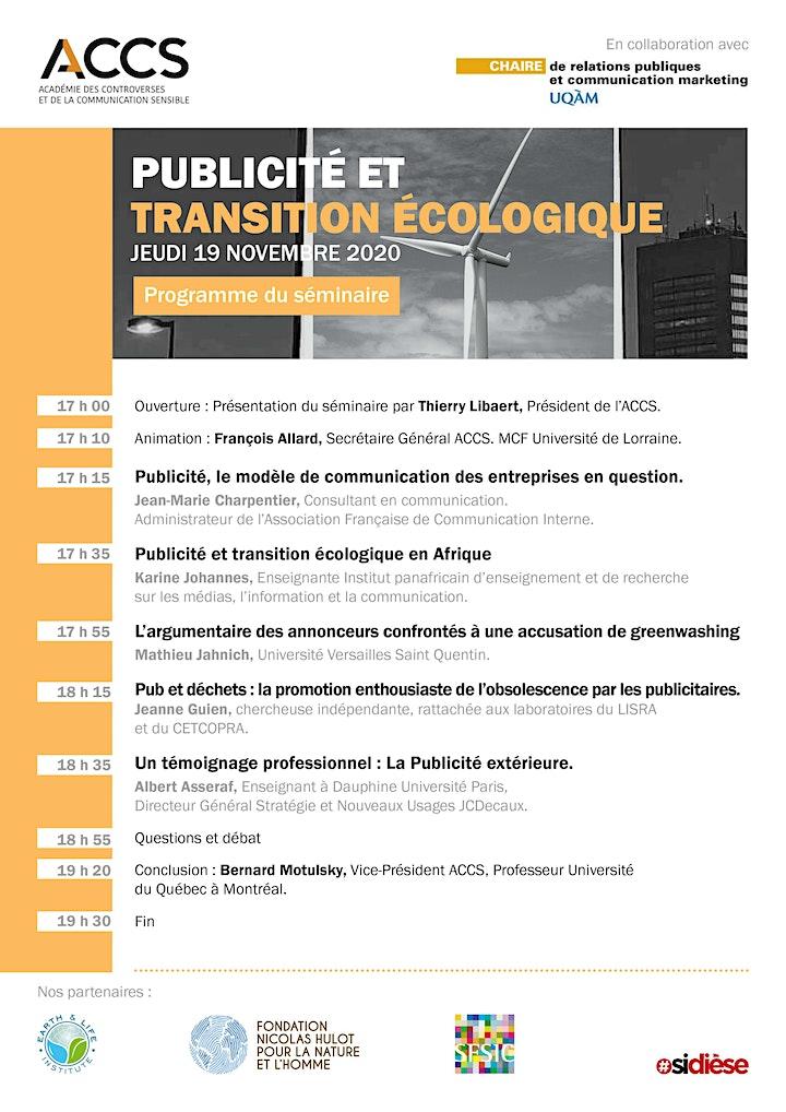 Image pour Séminaire ACCS - Publicité et transition écologique