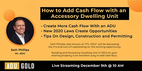 How to Add Cash Flow with an Accessory Dwelling Unit tickets
