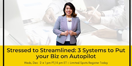 Stressed to Streamlined: 3 Systems to Put your Biz on Autopilot tickets