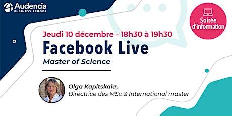 [OnLine] Facebook Live / Programmes MSc & international master billets