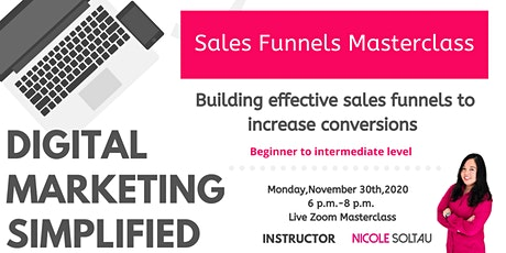 Learn  how to build  sales funnels to increase conversions tickets