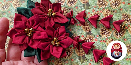 Craft workshop - Kanzashi Christmas Flowers from scrap fabric tickets