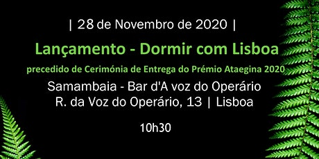 Lançamento Dormir com Lisboa + Prémio Ataegina