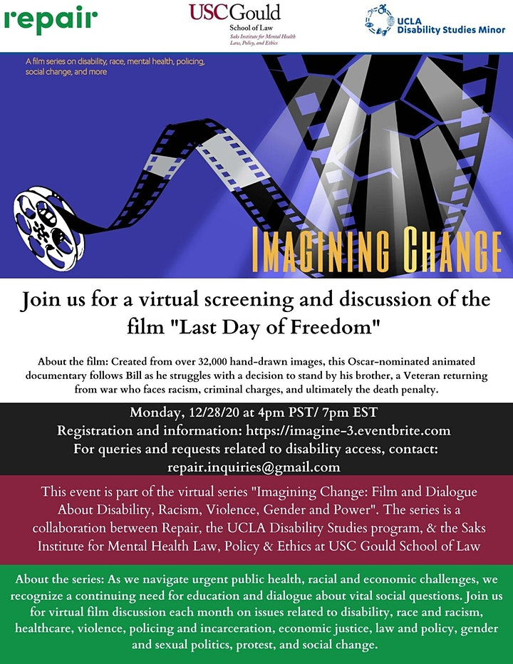"""Imagining Change Film & Discussion Series -- """"Last Day of Freedom"""" image"""