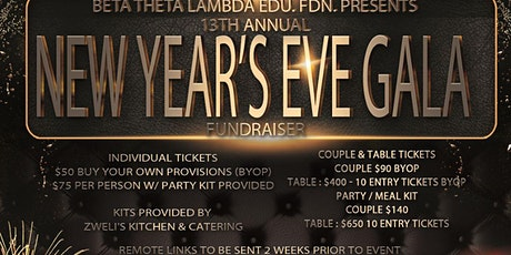 Virtual - New Year's Eve Gala Fundraiser Hosted by BTL Education Foundation tickets