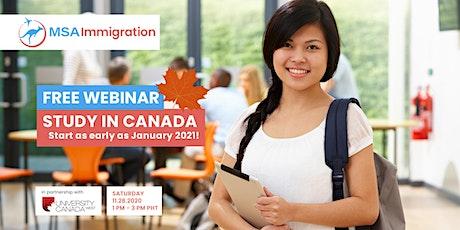 MSA Immigration Study in Canada FREE Webinar tickets
