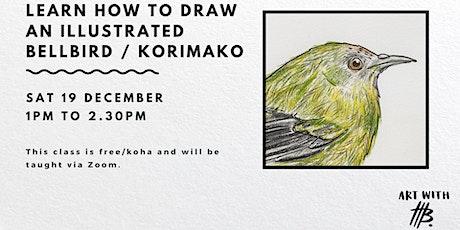Live Art Class: Draw an Illustrated Bellbird / Korimako tickets