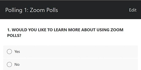 Zoom Polls - Practice Session