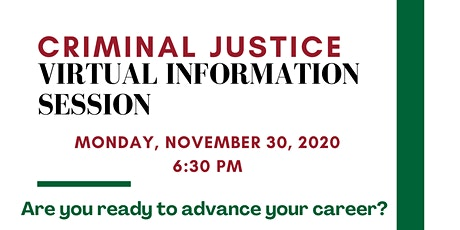 Criminal Justice Virtual Info Session tickets