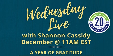 Wednesday Live with Shannon Cassidy -  December, 2020 tickets