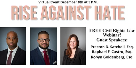 FREE Civil Rights Law Webinar with Q&A! By RiseAgainstHate.org entradas