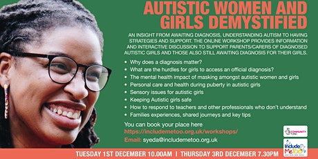Autistic Women and Girls Demystified tickets