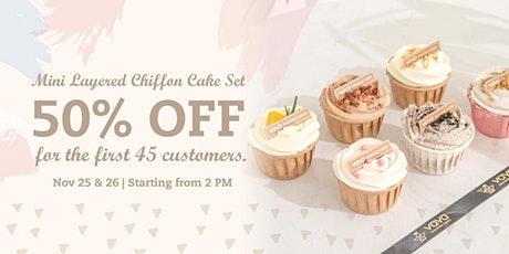 50% OFF Mini Layered-Chiffon Cake Sets to Satisfied Your Cake Craving! tickets