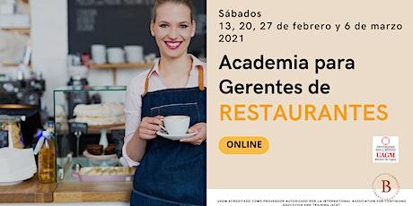 Restaurantes; Academia para Gerentes ONLINE boletos