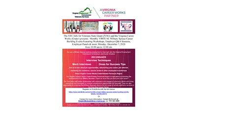 Monthly VIRTUAL Military Spouse Career Building Events tickets