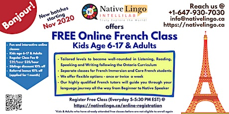 FREE Online French Class for Kids & Adults | Native Speaker Teachers tickets