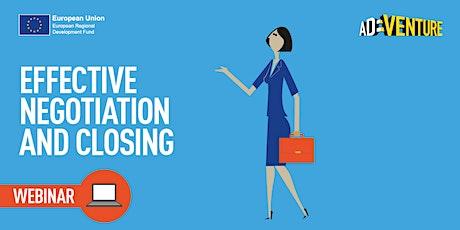Online ADVENTURE Business Workshop - Effective Negotiation & Closing tickets