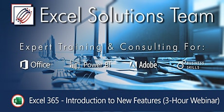 Excel 365 New Features (3-Hour Webinar Hosted using Teams) tickets