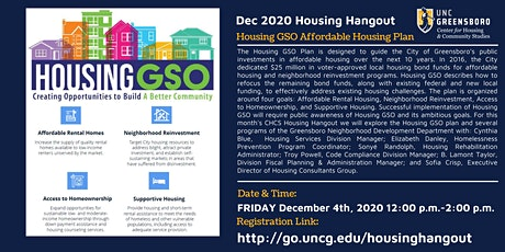 Dec Housing Hangout  - The City of Greensboro's Affordable Housing Plan tickets