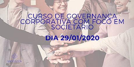 Curso de Governança Corporativa com Foco em Societário bilhetes
